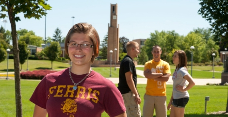 Ferris Honors Students in the Quad, from SmugMug, used with permission from Ferris State University