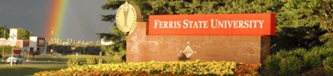 Ferris State Entrance with rainbow, from Ferris State SmugMug collection