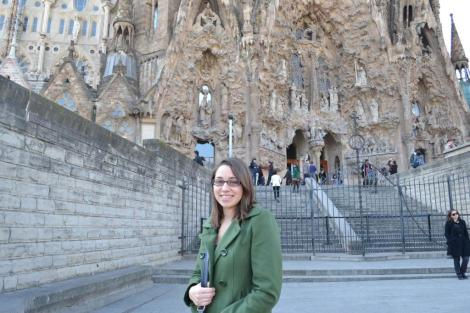 FSU Honors student at Basilica of the Sagrada Familia (the Church of the Holy Family) in Spain.