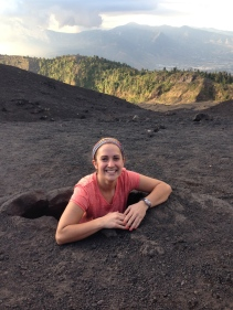 Katie inside a hot spring at the top of Volcan Pacaya