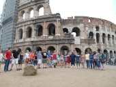 Group Photo in front of the colosseum, Photo by Zachary Kramer, used with permission by the Honors Program at Ferris State