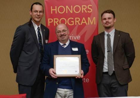 Neil Patten, Professor of Communications, receiving the award for Outstanding Professor, Fall 2014