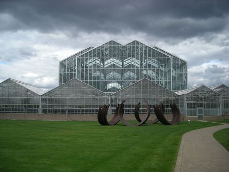 Author: Michael Berea. The exterior of the Lena Meijer Tropical Conservatory at the Frederik Meijer Gardens & Sculpture Park in Grand Rapids Township, Michigan (United States).