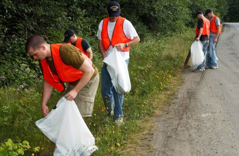 070622-N-2143T-002 POULSBO, Wash. (June 22, 2007) - Sailors assigned to USS Henry Jackson (SSBN 730) pick up litter along Highway 3 as part of WashingtonÕs Adopt-a-Highway program. The Adopt-a-Highway program is an anti-litter and roadside clean-up campaign intended to promote pride and local ownership in Washington State. U.S. Navy photo by Mass Communication Specialist 2nd Class Maebel Tinoko (RELEASED)