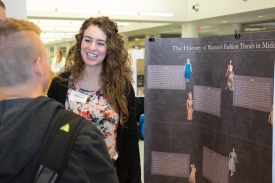 Katelyn Reed, discussing the history of Women's fashion in the 20th century at the Senior Symposium 2015, Photo from Ferris SmugMug Gallery http://ferrisphotos.smugmug.com/Academic/Honors/2015-Senior-Symposium-Poster/