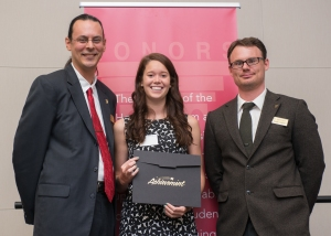Edwin Harris Memorial Scholarship Recipient, Mary Stoll; Honors Director, Peter Bradley; and Honors Advisor, Charlie Malone. Courtesy of SmugMug with permission from Ferris State University