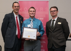 Outstanding Service Award Recipient, Zac Kramer with Honors Director, Peter Bradley and Honors Advisor, Charlie Malone. Courtesy of SmugMug with permission from Ferris State University