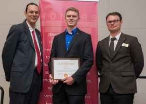 Outstanding Leader Award Recipient, Marc Jaruzel with Honors Director, Peter Bradley and Honors Advisor, Charlie Malone. Courtesy of SmugMug with permission from Ferris State University