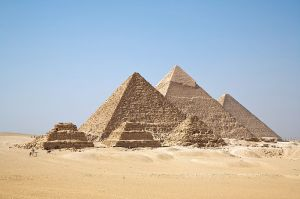 Great Pyramids at Giza, Egypt. CC-licensed from Wikipedia used with permission from Rachel Foulk