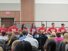 "Ukulele Club performs ""I'm Yours"" by Jason Mraz. Courtesy of Ferris Honors"