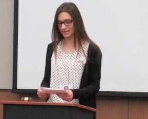 COMH Student, Kat Reuter Speaks. Used with permission of the photographer.