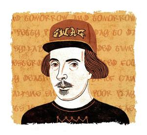 Swagspeare. Illustration by James Steinberg for Boston Globe Magazine. Courtesy of St. Mary's College http://www.jennifercognard-black.com/teaching-shakespeare