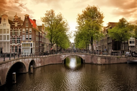 Beautiful Amsterdam canals with typical houses. Courtesy  of Office of International Education at Ferris State University