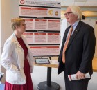 Jenna Grimm explains her Senior Symposium Program to Dean Durst. Courtesy of Ferris State University's SmugMug.