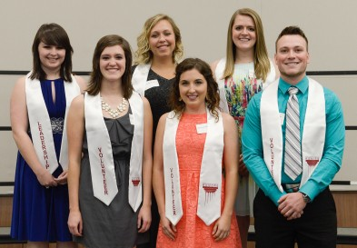 Leadership and Volunteer Stole winners 2016. Courtesy of Ferris State University's SmugMug https://ferrisphotos.smugmug.com/Academic/Honors/2016-Senior-Send-Off/