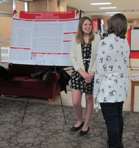 Tiffany Newman presents her poster at Honors Senior Symposium. Courtesy of the photographer.