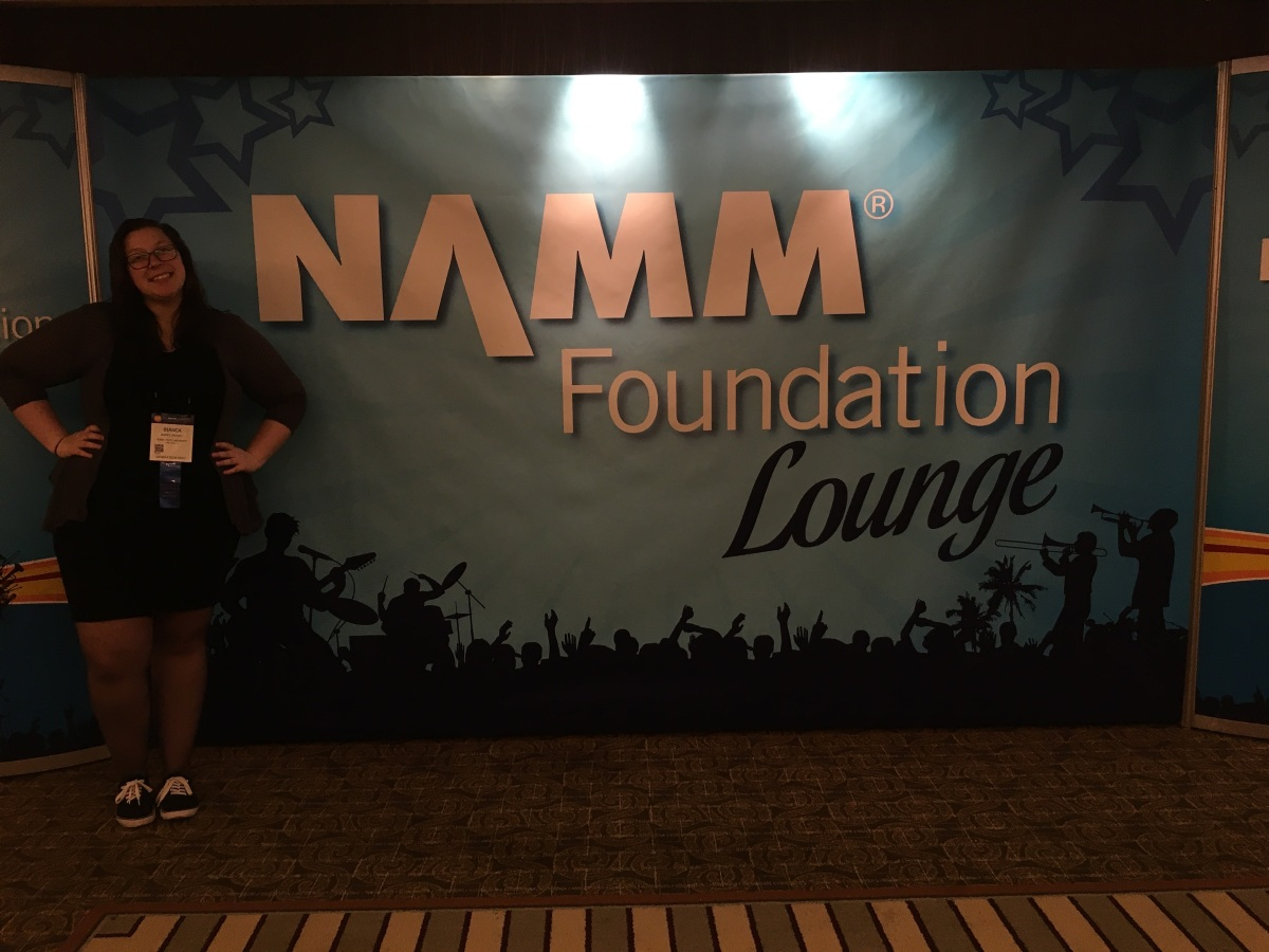 Bianca in front of Lounge at NAMM. Courtesy of honors student, Bianca Broniec.