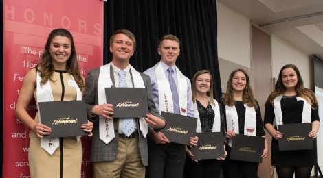 Honors 2017 Stole Winners . Mel Schafer, Josh Olszewski, Marc Jaruzel, Leesa Deadwyler, Tori VanOeffelen, and Katelyn Michalski. Courtesy of the photographer and Ferris SmugMug.
