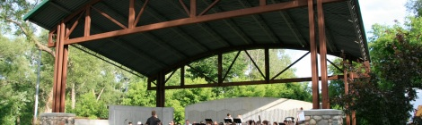 Ferris Community Band at the Big Rapids Band Shell. Courtesy of Director Dr. Richard Scott Cohen of the Ferris State University sponsored summer community band.