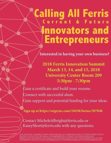 Innovation Summit Flyer. Courtesy of CLACS at Ferris State University.