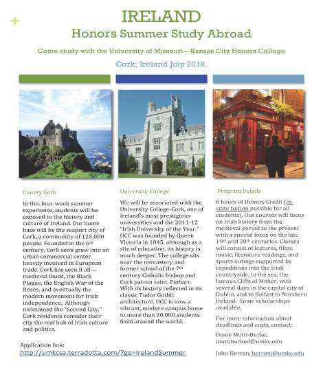 Ireland Brochure 2018. Courtesy of the University of Missouri-Kansas City Honors College