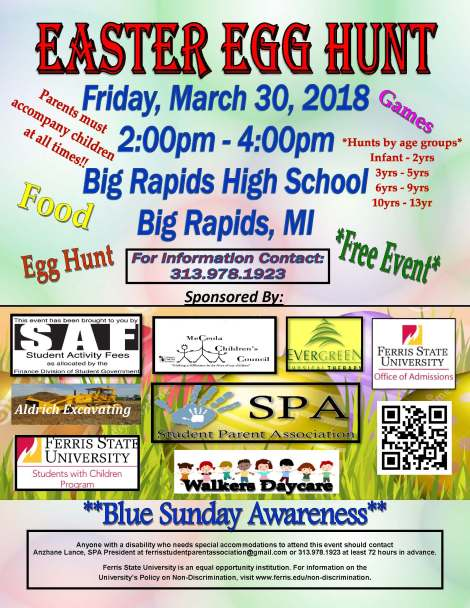 Easter Egg Hunt Flyer-2018. Courtesy of the Students with Children Program at Ferris State University.